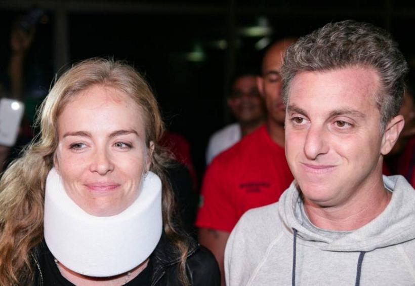 Angélica e Luciano Hulk após acidente. (Foto: Reprodução)