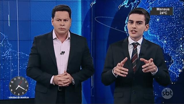 Marcão do Povo e Dudu Camargo são dois dos apresentadores do Primeiro Impacto (foto: reprodução/SBT)