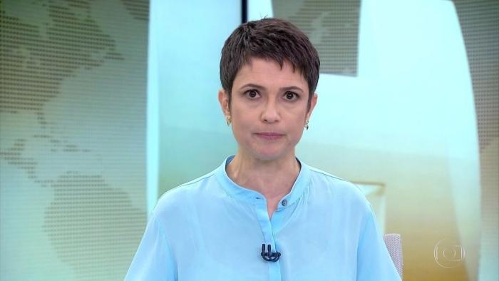 Sandra Annenberg no comando do Jornal Hoje (Foto: Reprodução/Globo)