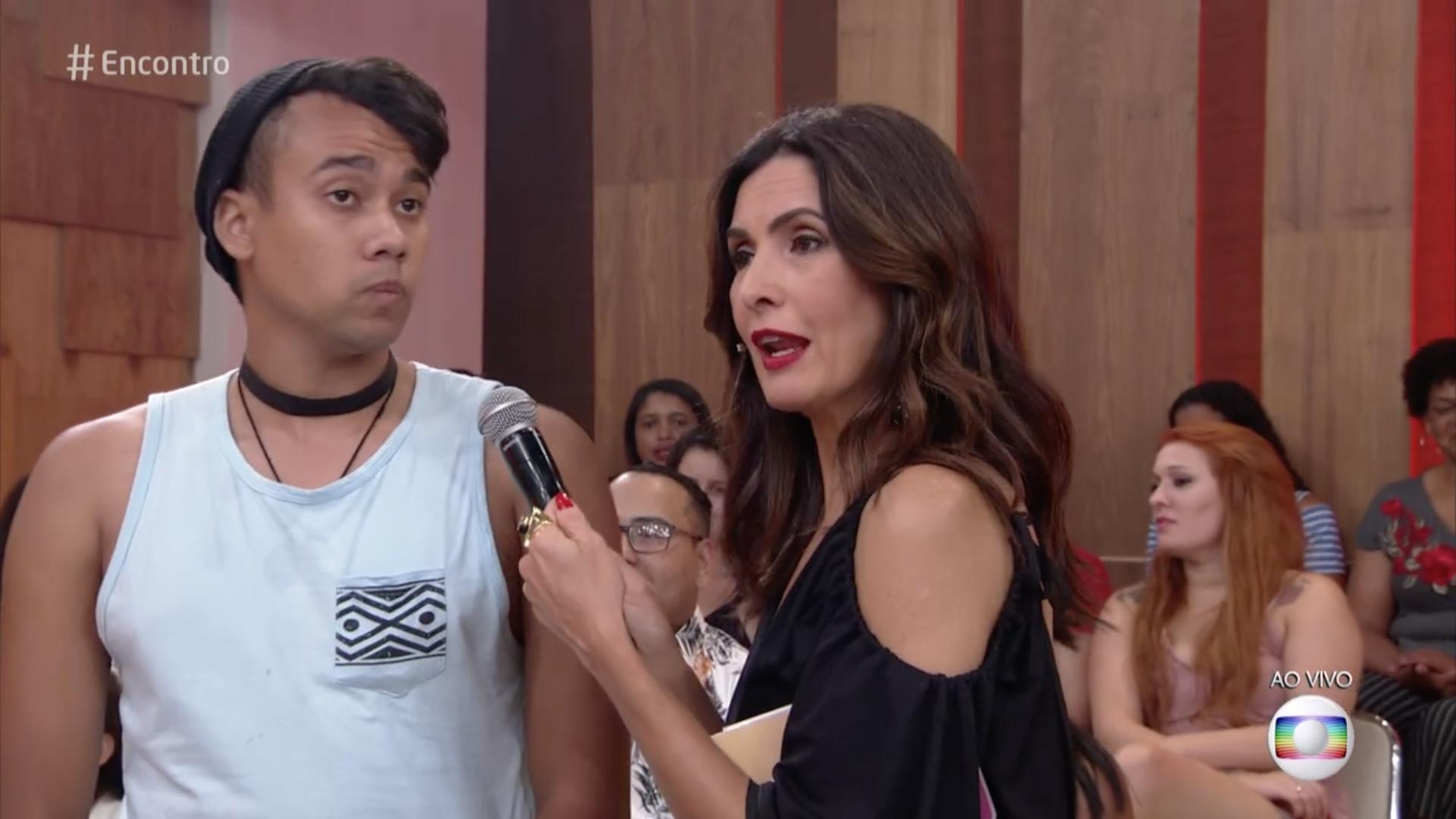 Wallace discutiu com Kéfera no Palco do Encontro com Fátima Bernardes (Foto: Reprodução/Globo)