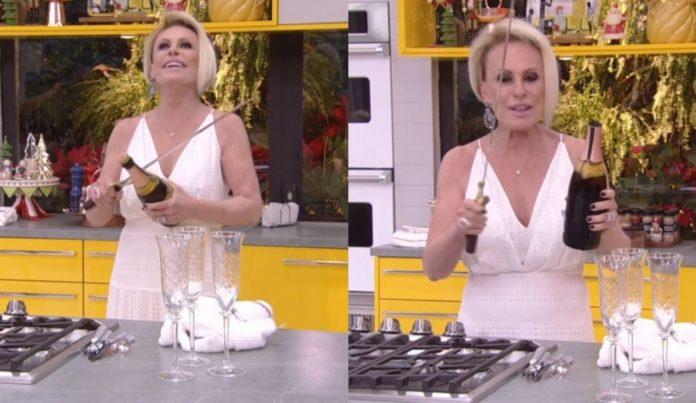 Ana Maria Braga abre garrafa de vinho com espada (Foto: Reprodução/ TV Globo)