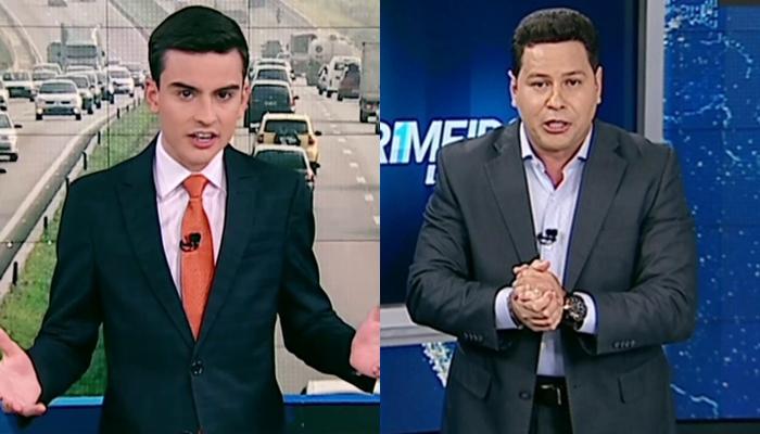 Dudu Camargo e Marcão do Povo no programa Primeiro Impacto (Foto: Montagem)