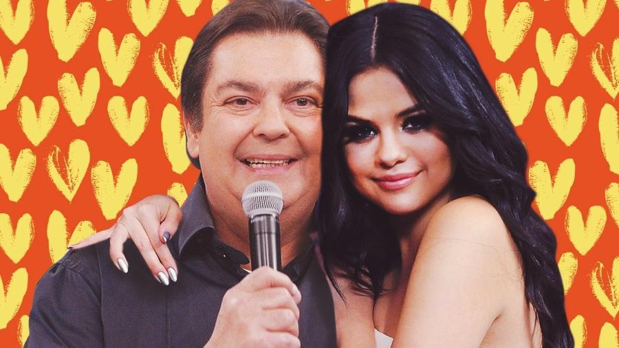 Faustão e Selena Gomez (Foto: Divulgação)