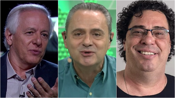 Milton Leite, Luís Roberto e Walter Casagrande gravaram piloto de programa para o SporTV. (Foto: Montagem/Reprodução)