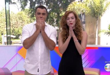 Os apresentadores Joaquim Lopes e Sophia Abrahão no último Vídeo Show (Foto: Reprodução/Globo)