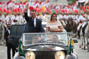O presidente Jair Bolsonaro e a primeira-dama Michelle Bolsonaro durante cerimônia de posse (Foto: Reuters/Ricardo Moraes)