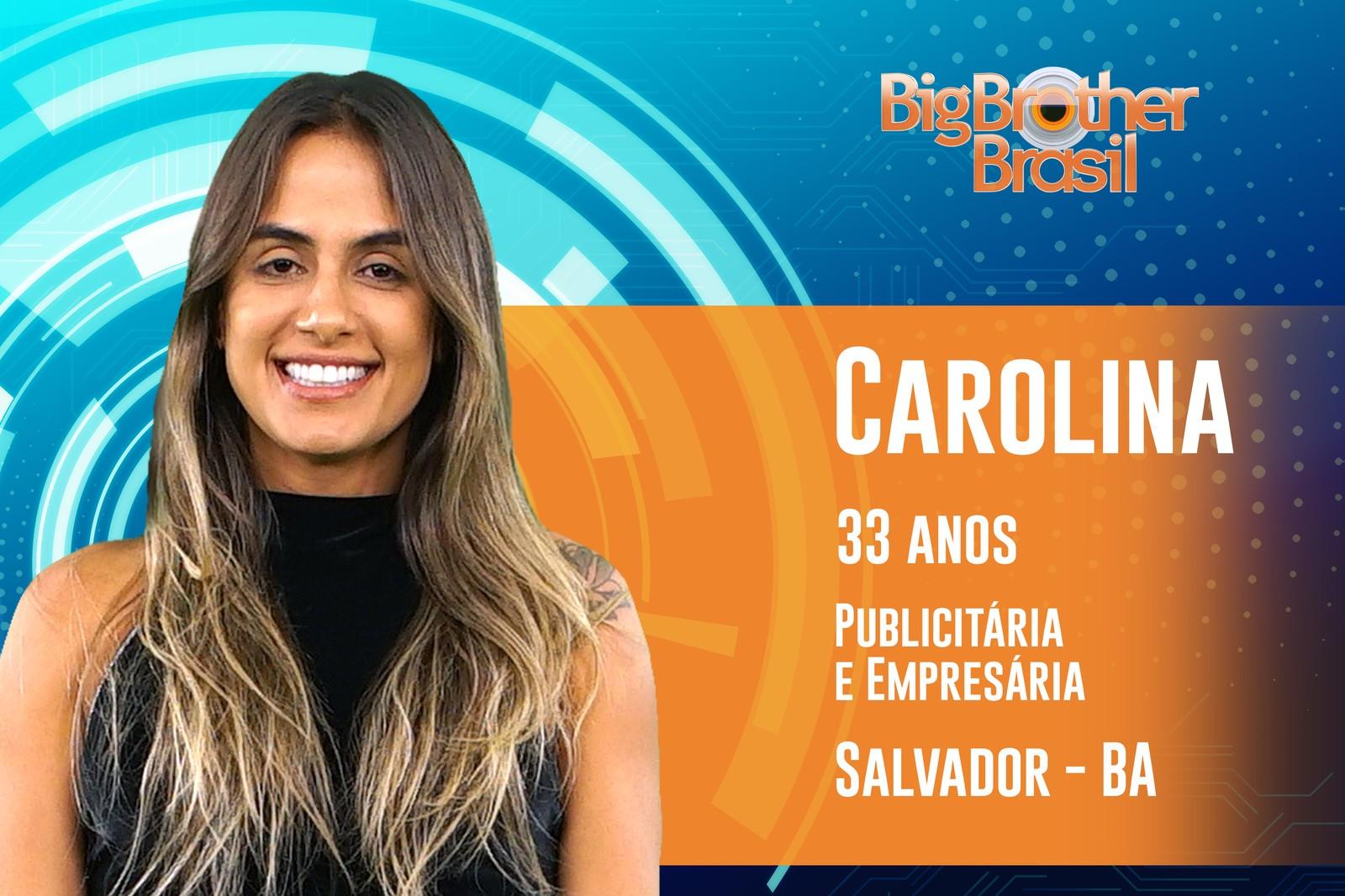 Carolina tem 33 anos e estará no BBB19 da Globo