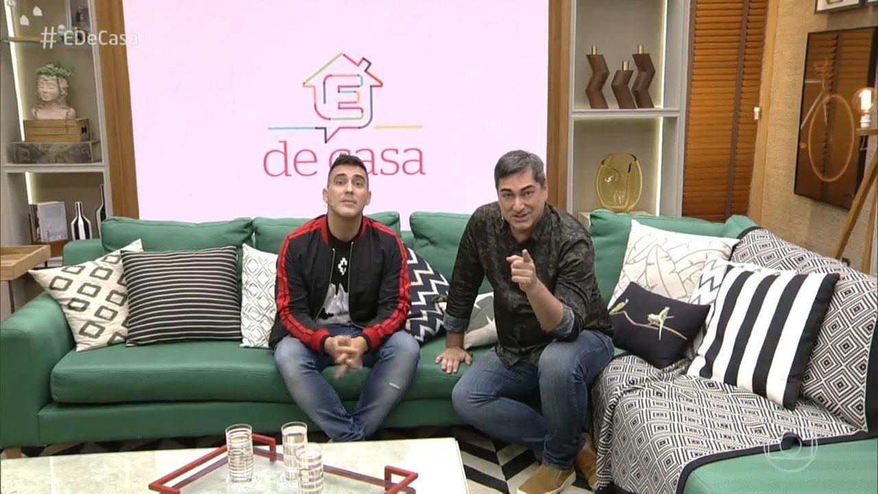 André Marques e Zeca Camargo no semanal É de Casa, da Globo. (Foto: Reprodução)