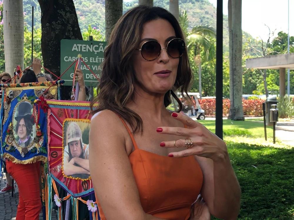 Fátima Bernardes em sua última participação no 'Tá No Ar' — (Foto: Vinicius Cunha / Gshow)