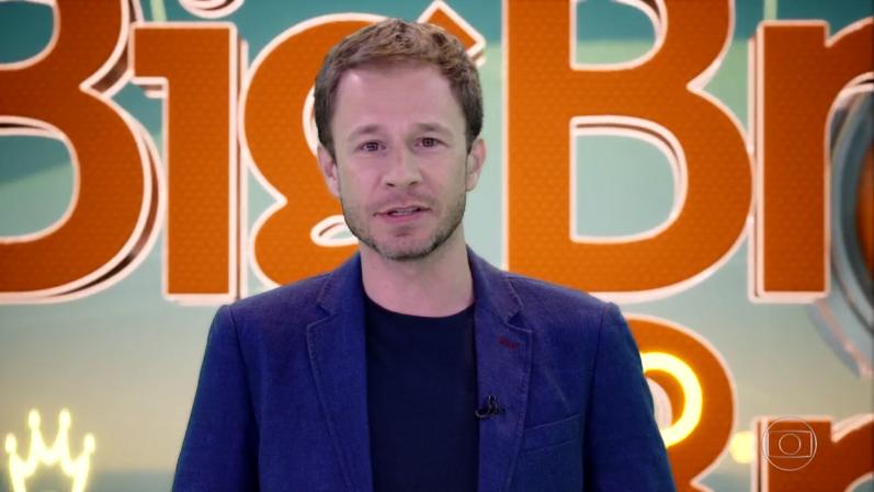 O apresentador Tiago Leifert na estreia do BBB19 (Foto: Reprodução/Globo)