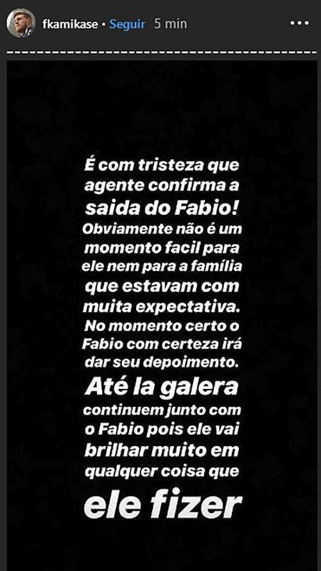 Perfil oficial de Fábio falou sobre a saída dele do BBB19 antes da estreia