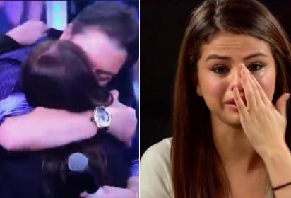 Faustão beija Susana Vieira e a internautas especulam a reação de Selena Gomez (Foto: Reprodução)