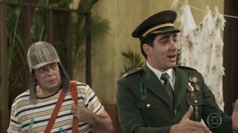 Marcelo Adnet como Jair Bolsonaro em sátira de Chaves do Tá no Ar (Foto: Reprodução/Globo)