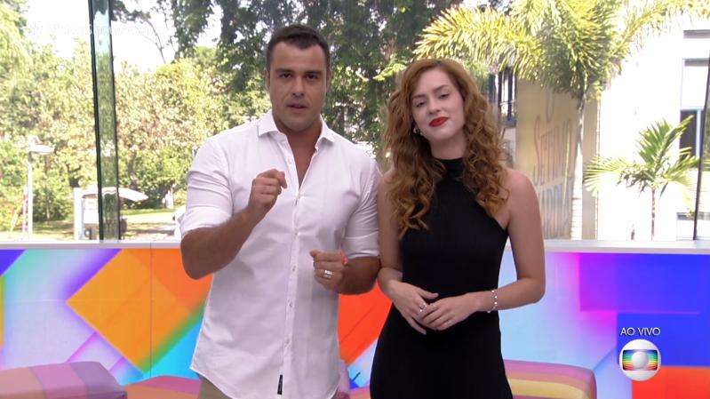 Joaquim Lopes e Sophia Abrahão no último Vídeo Show (Foto: Reprodução/Globo)