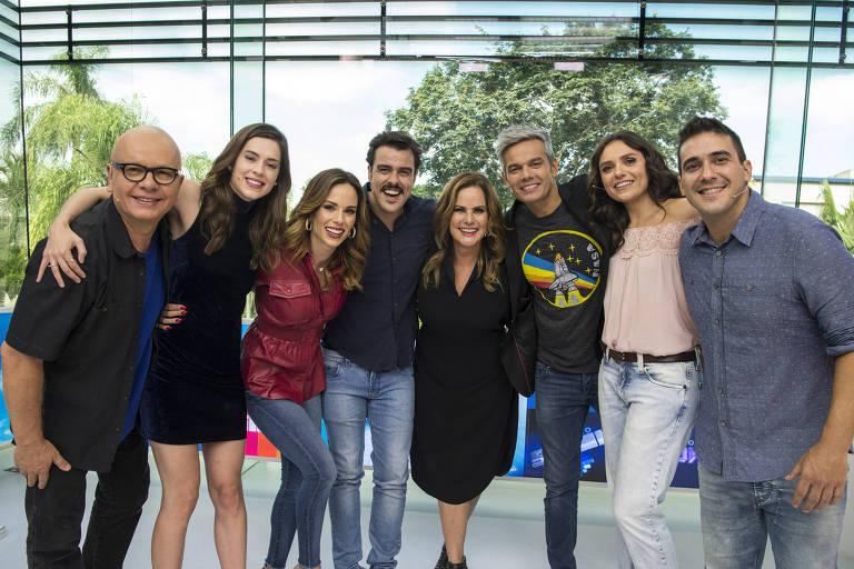 Vídeo Show 35 anos: Monica Iozzi, Renata Ceribelli, Otaviano Costa, Sophia Brahao (Foto: Reprodução)
