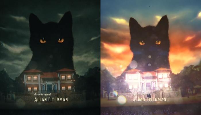 Antes e depois da abertura de O Sétimo Guardião, que passou por mudança (Foto: Reprodução/Globo/Montagem)