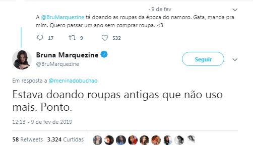 Bruna Marquezine respondeu internauta