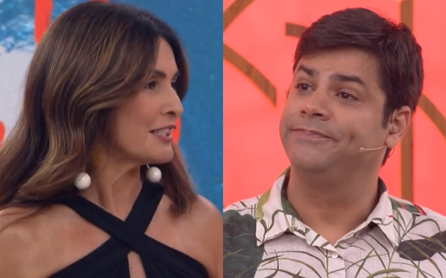 Fátima Bernardes e Lair Rennó na Globo (Foto: Reprodução)