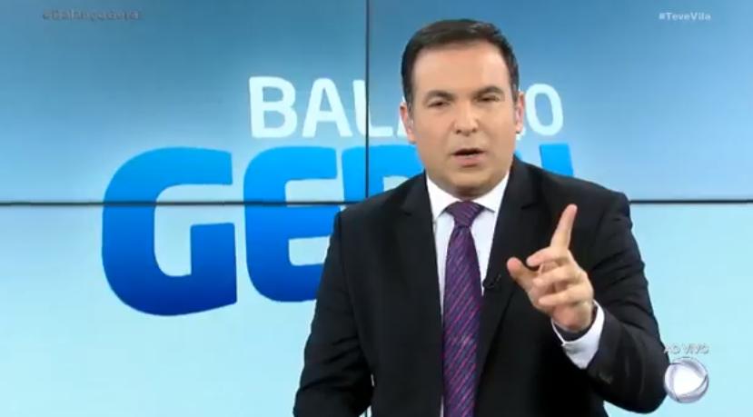 Reinaldo Gottino no comando do programa Balanço Geral SP, na Record (Foto: Reprodução)