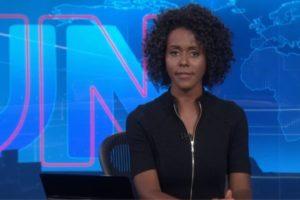 Maju Coutinho na bancada do Jornal Nacional (Foto: Reprodução)