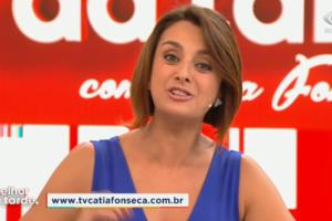 A apresentadora Catia Fonseca no comando do programa Melhor da Tarde, na Band. (Foto: Reprodução)