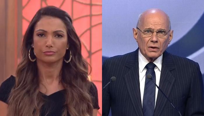 A apresentadoraPatrícia Poeta no Encontro e o jornalista Ricardo Boechat (Foto: Reprodução/Globo e Band)