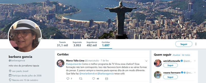 Bárbara Gancia curte comentário de internauta. (Foto: Reprodução/Twitter)