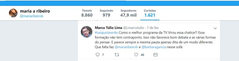 Maria Ribeiro curte comentário de internauta. (Foto: Reprodução/Twitter)