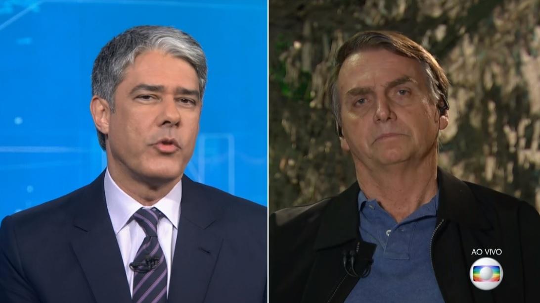 William Bonner já entrevistou Jair Bolsonaro duas vezes na Globo (Foto: Reprodução)
