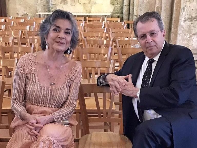 Betty Faria e Daniel Filho no casamento