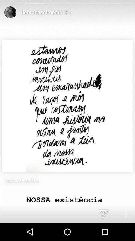 Mensagem publicada por Débora Nascimento (Foto: Reprodução/Instagram)