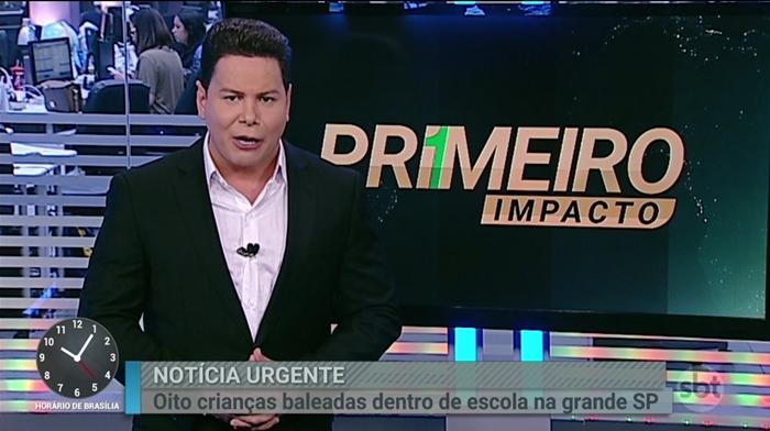 O apresentador Marcão do Povo no Primeiro Impacto (Foto: Reprodução/SBT)