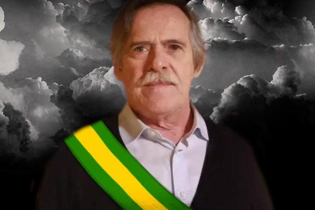 O ator José de Abreu em montagem com a faixa presidencial (Foto: Reprodução)