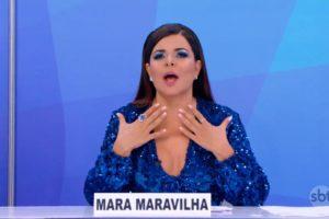Mara Maravilha implora por volta ao Programa do Ratinho no Silvio Santos (Foto: Reprodução)