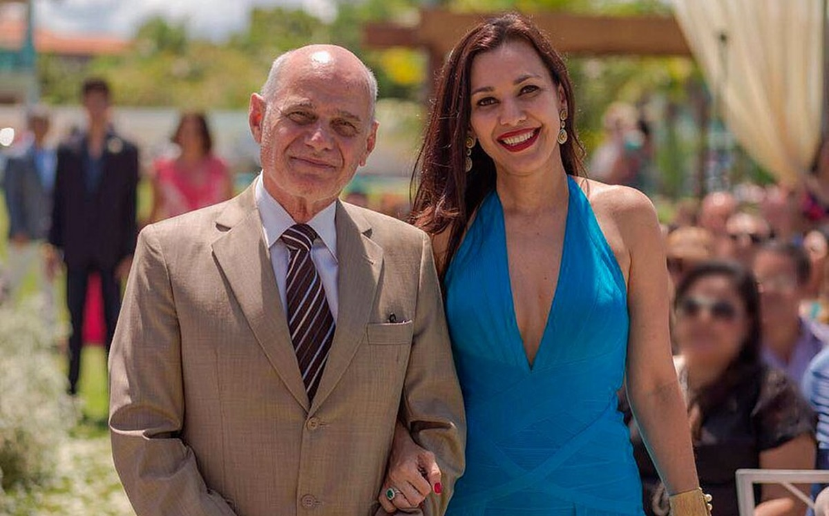 O jornalista Ricardo Boechat ao lado da esposa, Veruska Seibel (Foto: Reprodução)