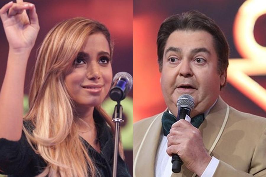 Anitta e Faustão na Globo (Foto: Reprodução)