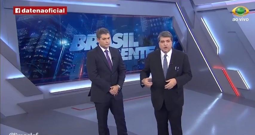 Joel e seu pai Datena no comando do Brasil Urgente (Foto reprodução)