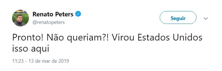 Comentário de Renato Peters revoltou internautas. (Foto: Reprodução/Twitter)