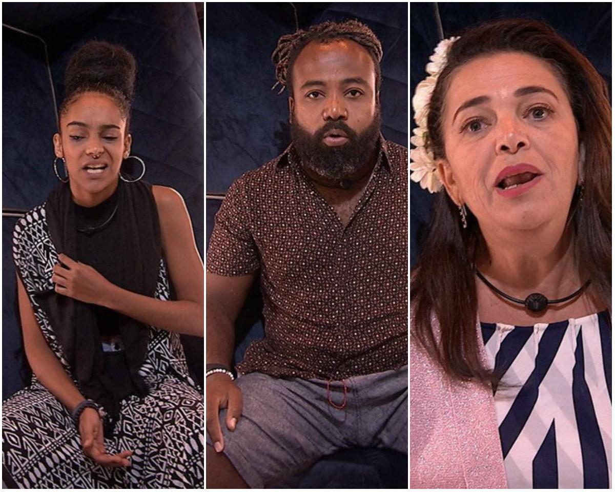 Gabriela, Rodrigo e Tereza estão no paredão fake (Foto: Reprodução/Globo)
