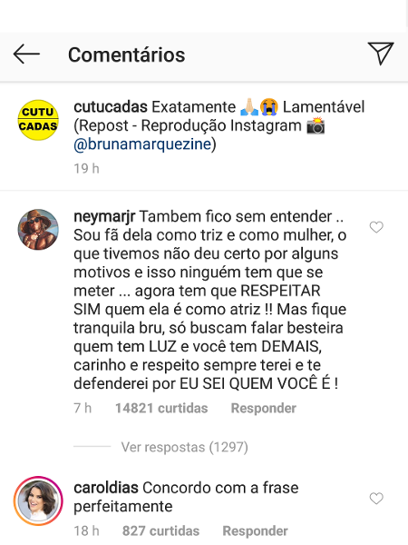 Neymar se rebela em post e defende Bruna Marquezine