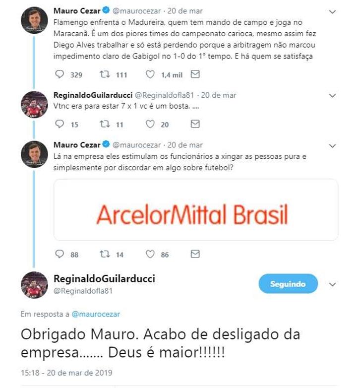 Torcedor xingou o comentarista Mauro Cézar Pereira. (Foto: Reprodução)