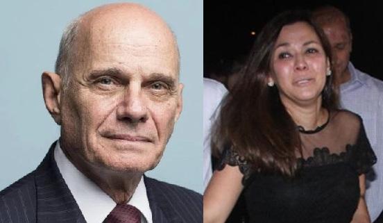 Ricardo Boechat e Veruska Seibel, que acusa empresa farmacêutica como culpada pela morte do marido (Imagem: Montagem)