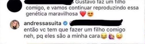 Andressa Suita manda resposta atravessada para fã assanhada de Gusttavo Lima (Imagem/ Reprodução)