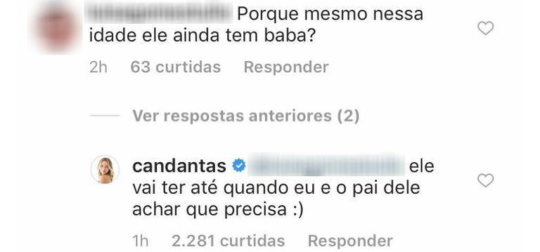 Carol Dantas rebate intenauta. Imagem: Reprodução/Instagram