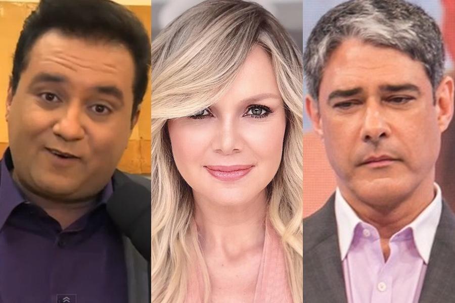 Eliana, Geraldo Luís e William Bonner na Globo (Foto: Reprodução)