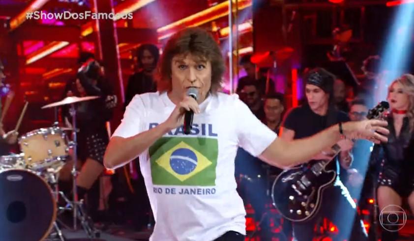 O humorista Ceará imitou Mick Jagger no Show dos Famosos (Foto: Reprodução)