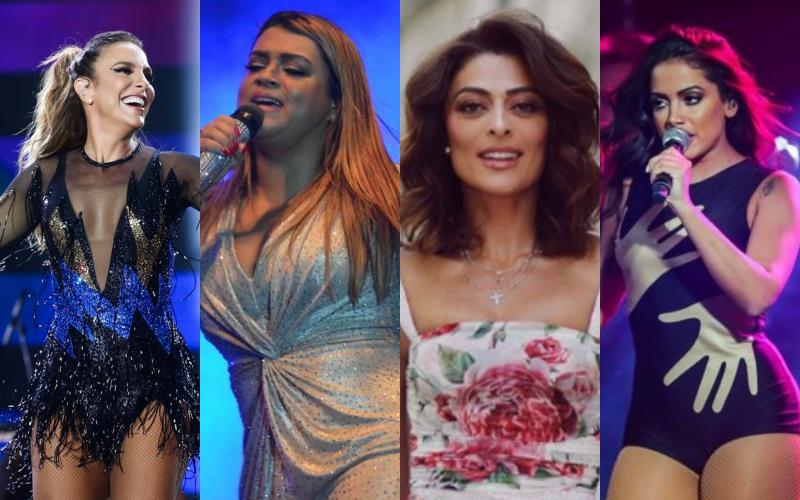 Ivete Sangalo, Preta Gil, Juliana Paes, Anitta acusadas de passar pano pra racistas e homofóbicos Foto: Reprodução