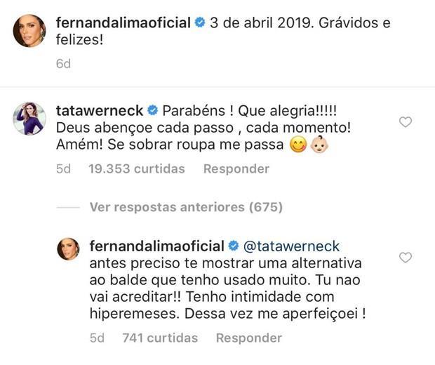 Fernanda Lima expõe que está com hiperêmese gravídica (Crédito: reprodução/Instagram)