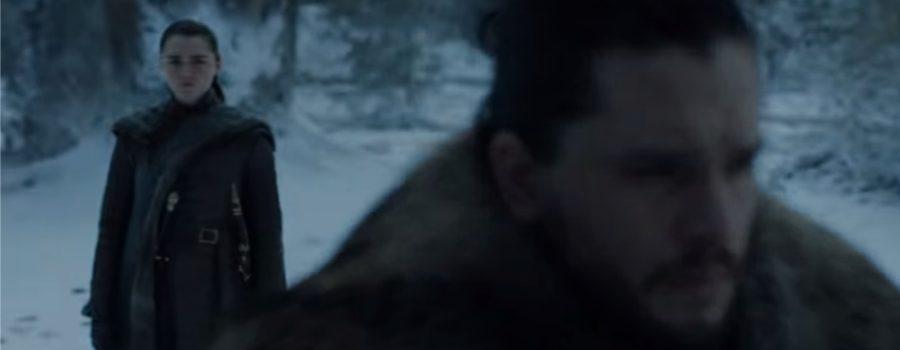 Jon Snow (Kit Harrington) e Arya (Maisie Williams) tiveram um encontro (Foto: Reprodução/YouTube)