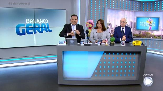 Reinaldo Gottino, Fabíola e Renato Lombardi no Balanço Geral SP. (Foto: Reprodução)